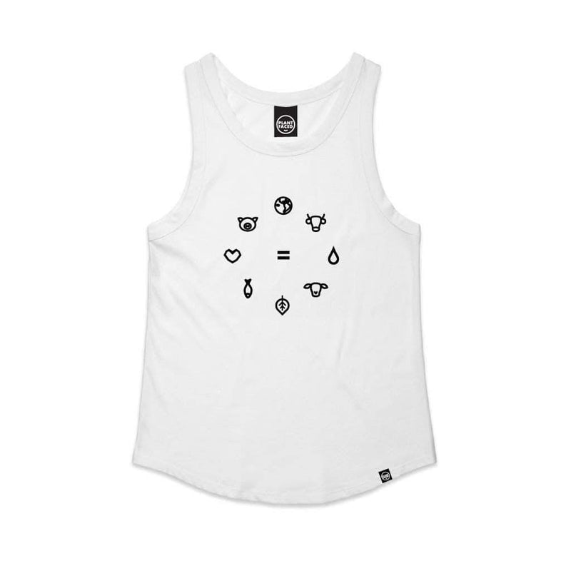 PLANT FACED CLOTHING: Tanks - Equal Beings - White Singlet Tank, Vegan Clothing