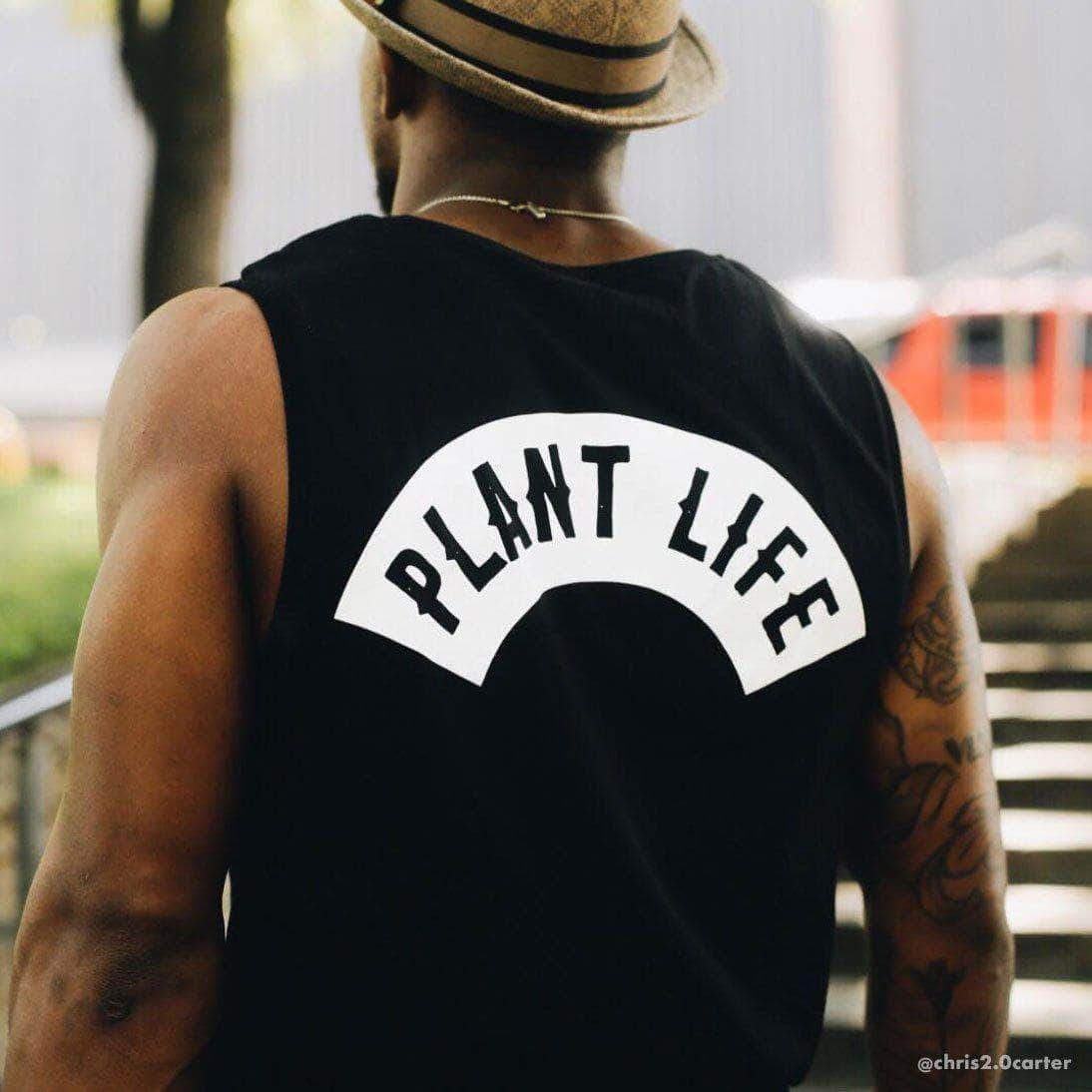 PLANT FACED CLOTHING: Tanks - Plant Life Classic - Black - Unisex Muscle Tee, Vegan Clothing
