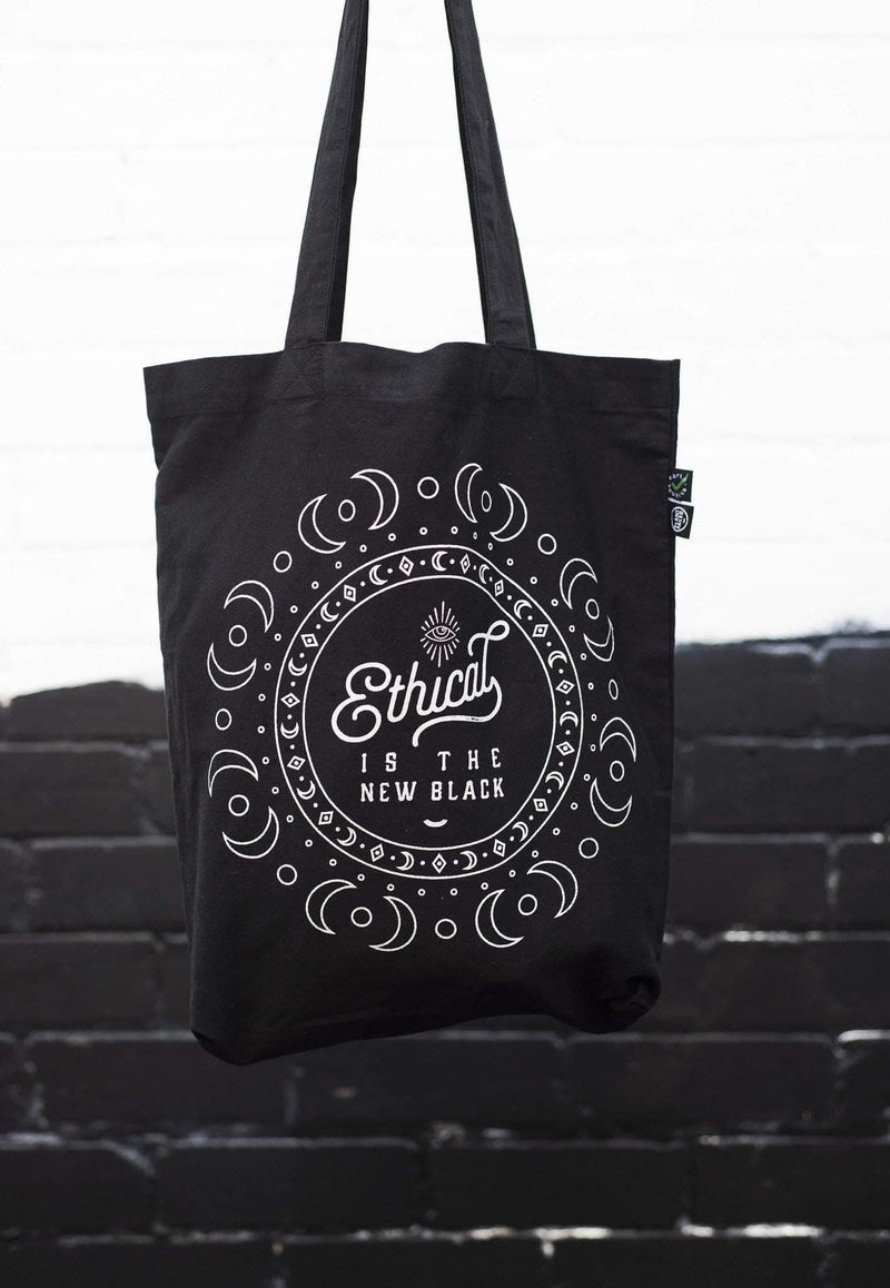 PLANT FACED CLOTHING: Tote Bags - Ethical Is The New Black - Premium 100% Organic Cotton Tote - Metallic Silver, Vegan Clothing