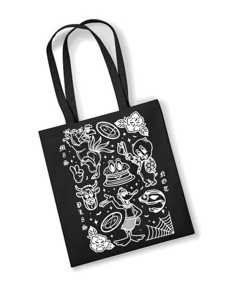 PLANT FACED CLOTHING: Tote Bags - M8S NOT PL8S Recycled Tote Bag - Black, Vegan Clothing