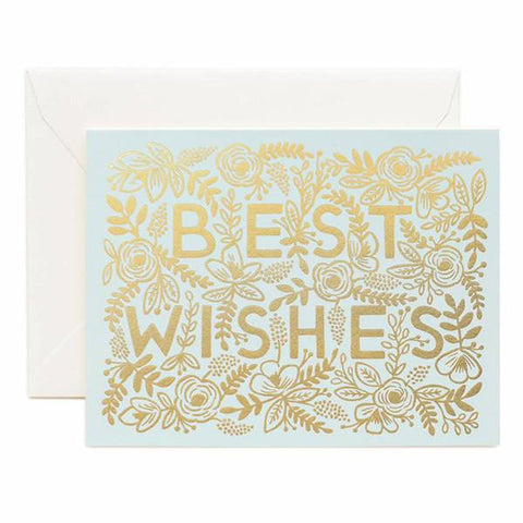 Rifle Paper US Card - Golden Best Wishes - Tea Pea Home