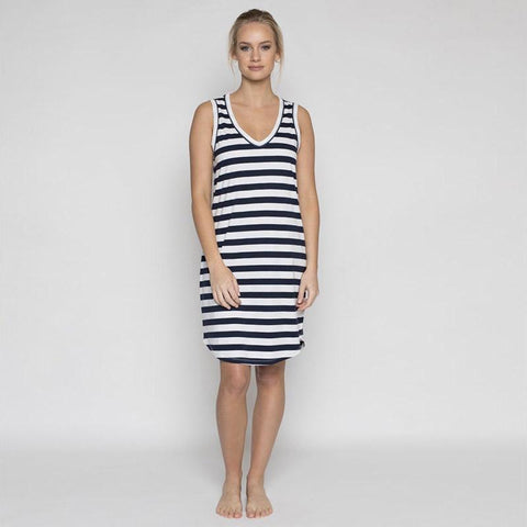 Annukka Harper Dress - Navy Stripe - Tea Pea