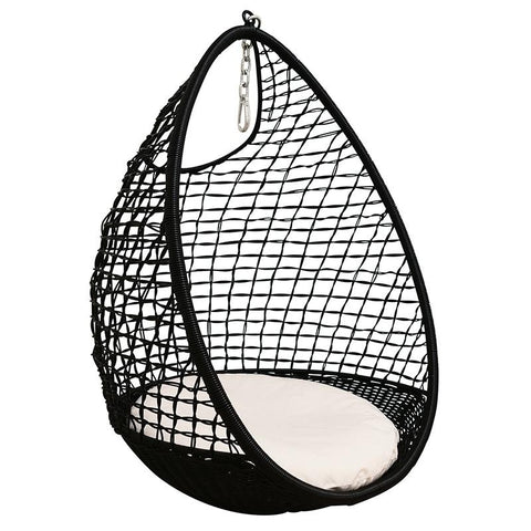 Synthetic Rattan Drop Pod Chair - Black - Tea Pea Home
