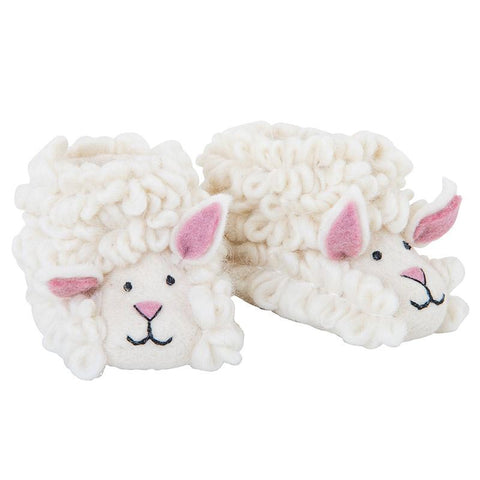 Pashom Nepal Felt Children's Slippers - White Sheep - Tea Pea Home