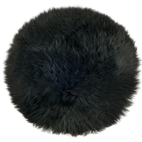 Sheepskin Circle Chair Pad - Black - Tea Pea Home