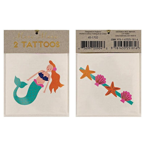 Meri Meri UK Temporary Tattoo Set - Mermaid & Sea Shells - Tea Pea Home