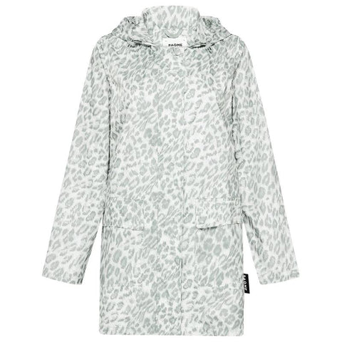 Paqme Women's 3/4 Jacket Recycled Raincoat - Leopard Smudge Clothing Paqme