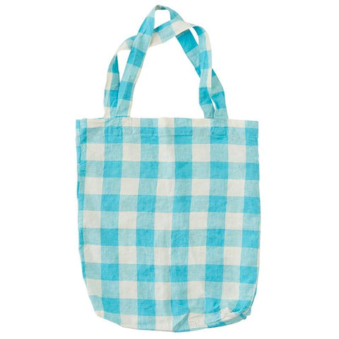 Society of Wanderers Tote Bag - Ocean Blue Gingham - Tea Pea Home
