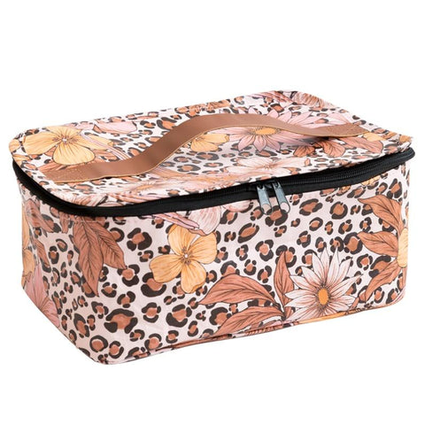 Kollab Poly Stash Toiletry Bag - Leopard Floral - Tea Pea Home