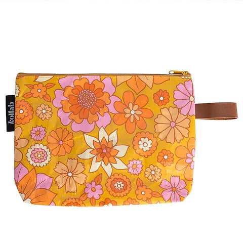 Kollab Poly Clutch - Retro Mustard Floral - Tea Pea Home