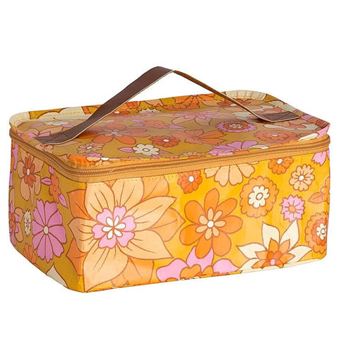 Kollab Poly Stash Toiletry Bag - Retro Mustard Floral - Tea Pea Home
