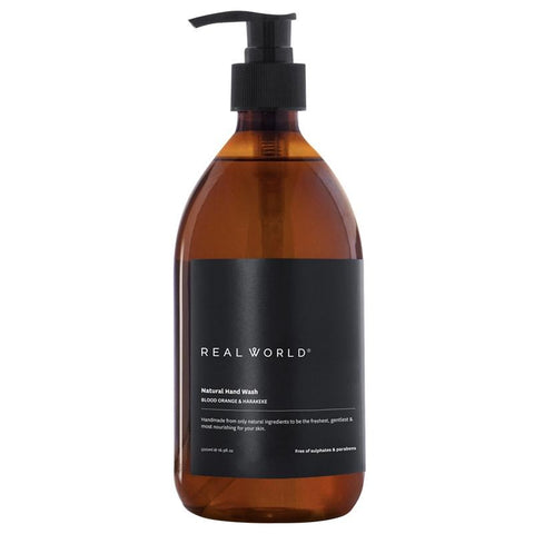 Real World NZ Hand Wash Glass Bottle - Blood Orange & Harakeke
