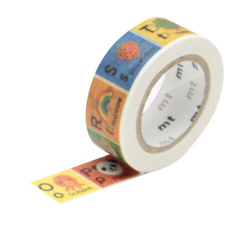 Kamoi Kakoshi Japan MT Kids Washi Tape - Alphabet N to Z 15mm - Tea Pea