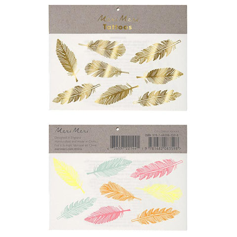 Meri Meri UK Temporary Tattoo Set - Gold & Neon Feather