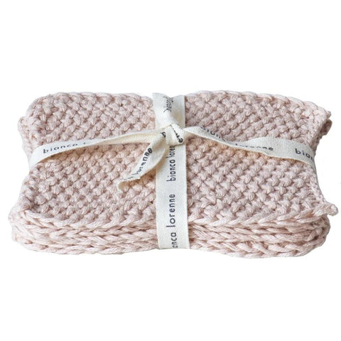 Bianca Lorenne Knitted Cotton Makeup Remover Wash Cloth Set - Lavette Blush - Tea Pea Home