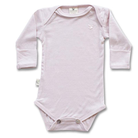 Roots & Wings Organic Merino Bodysuit Dusty Rose Front
