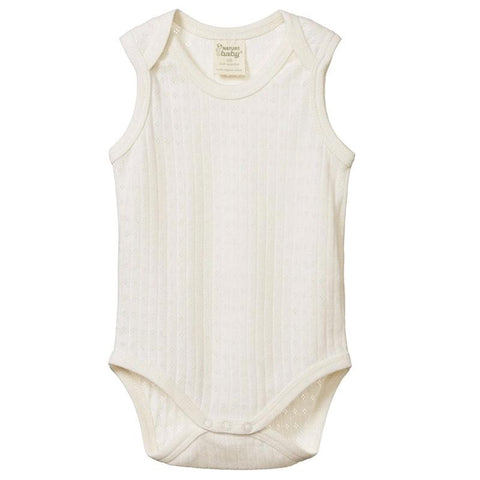 Nature Baby Organic Cotton Singlet Bodysuit - Pointelle Natural - Tea Pea Home