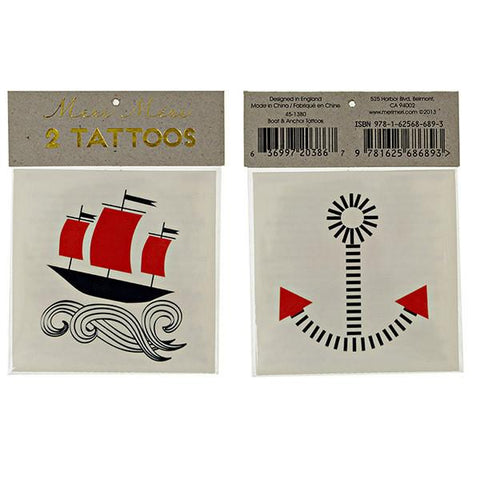 Meri Meri UK Temporary Tattoo Set - Boat & Anchor - Tea Pea Home