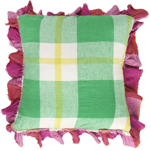 Society of Wanderers Ruffle Cushion Cover - Zest Check - Tea Pea Home