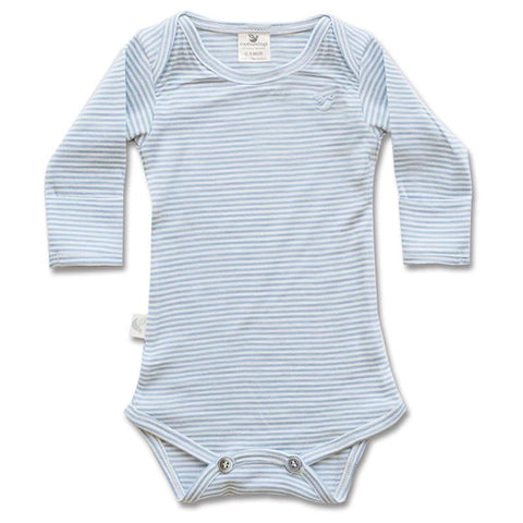 Roots & Wings NZ Organic Merino Bodysuit - North Sea Stripe - Tea Pea Home