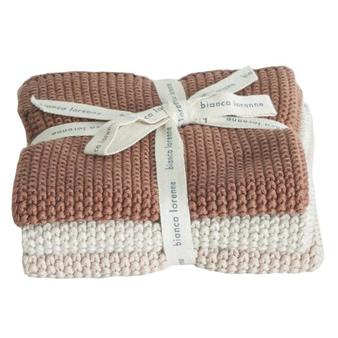 Bianca Lorenne Knitted Cotton Wash Cloth Set - Lavette Vintage Rose - Tea Pea Home