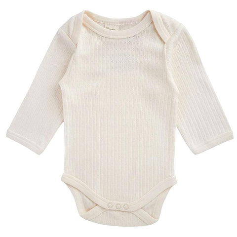 Nature Baby Pointelle Long Sleeve Bodysuit - Natural - Tea Pea