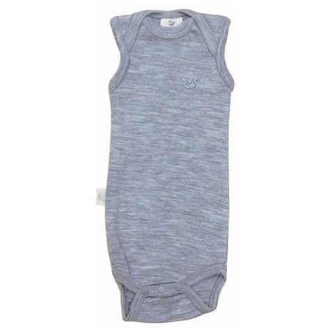 Roots & Wings NZ Organic Merino Rib Singlet Bodysuit - Grey Marle - Tea Pea