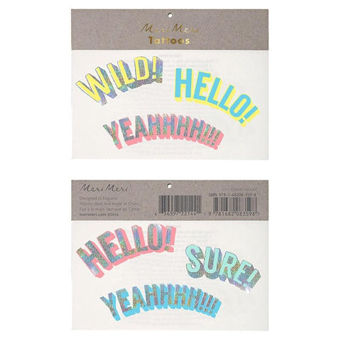 Meri Meri UK Temporary Tattoo Set - Wild, Hello, Yeah
