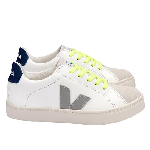 Veja Kids Oxford Leather Laced Sneakers - White & Grey Juane - Tea Pea Home