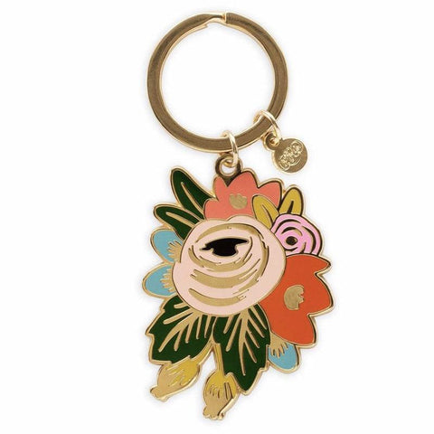 Rifle Paper US Brass & Enamel Keychain - Rosa - Tea Pea Home