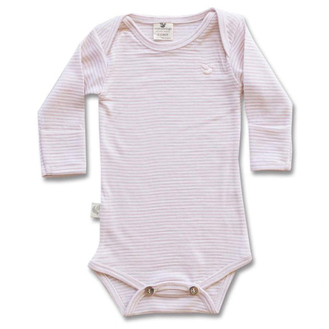 Roots & Wings NZ Organic Merino Bodysuit - Rose Stripe - Tea Pea Home
