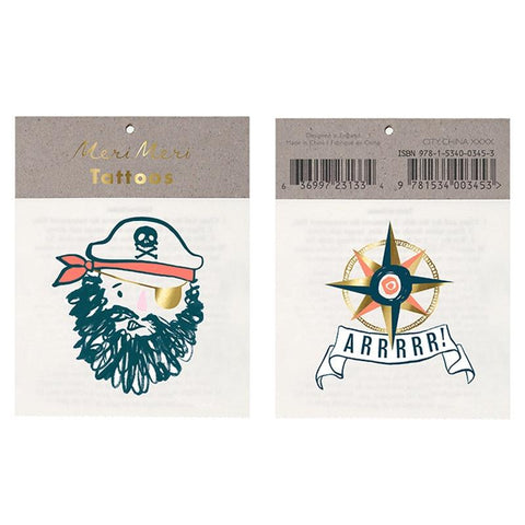 Meri Meri UK Temporary Tattoo Set - Bearded Pirate - Tea Pea Home