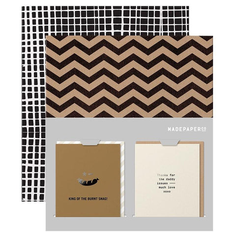 Made Paper Co Card Wrap & Card Set - Zig Zag, Burnt Snag & Daddy Issues - Tea Pea Home