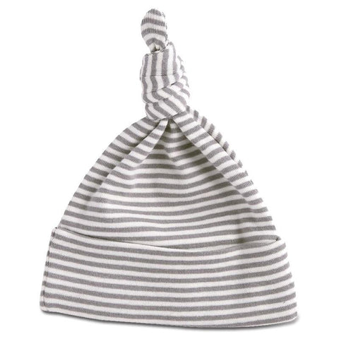 Nature Baby Organic Cotton Knotted Beanie - Grey Marle Stripe - Tea Pea Home