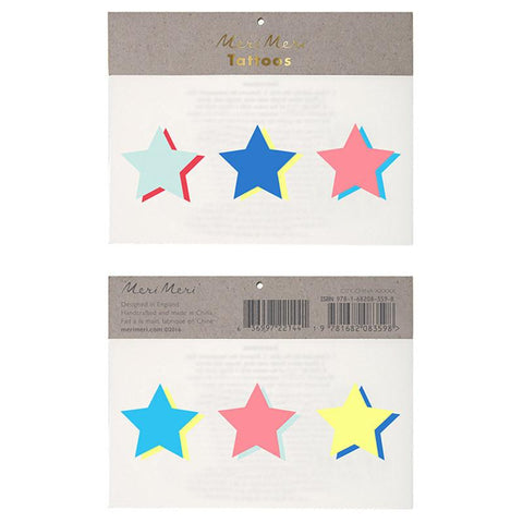 Meri Meri UK Temporary Tattoo Set Large - Neon Stars - Tea Pea Home