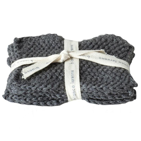 Bianca Lorenne Knitted Cotton Makeup Remover Wash Cloth Set - Lavette Charcoal - Tea Pea Home