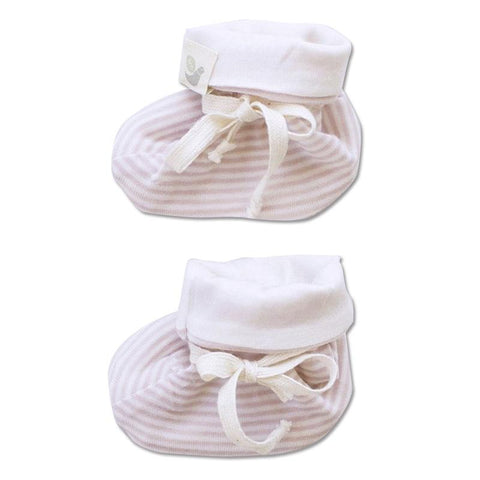 Roots & Wings NZ Organic Merino Booties - Rose Stripe - Tea Pea