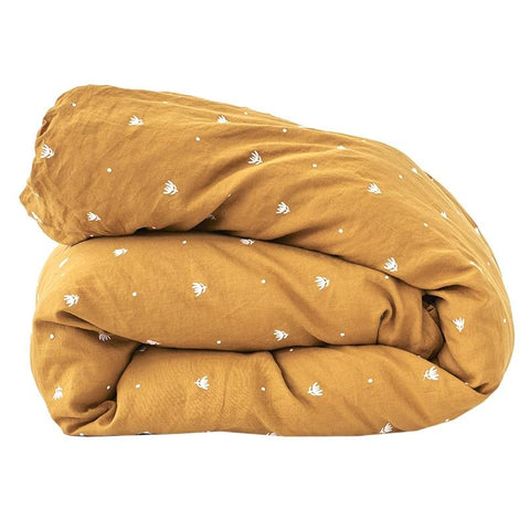 Society of Wanderers Embroidered Duvet Cover - Tumeric - Tea Pea