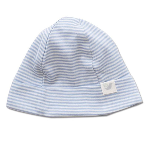 Roots & Wings NZ Organic Merino Beanie - North Sea Stripe - Tea Pea