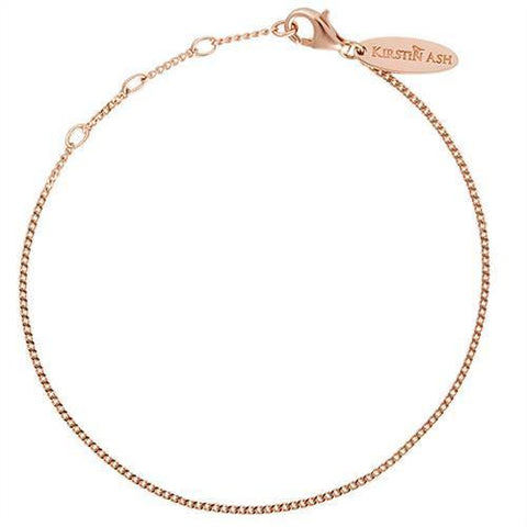 Kirstin Ash Bespoke Adjustable Curb Bracelet - 18k Rose Gold Vermeil - Tea Pea