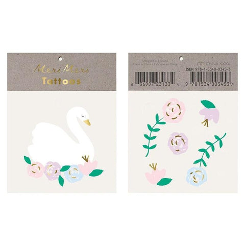 Meri Meri UK Temporary Tattoo Set - Floral Swan - Tea Pea Home
