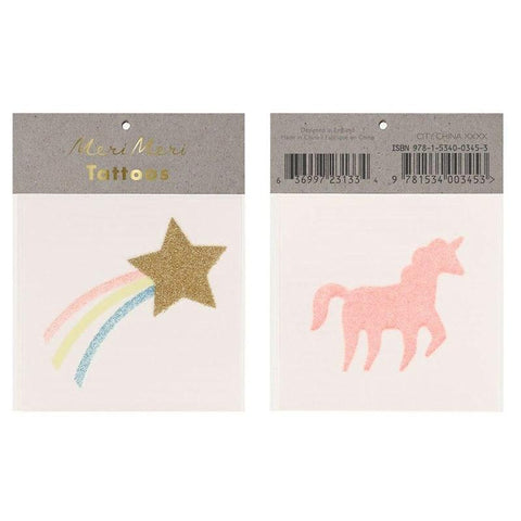 Meri Meri UK Temporary Tattoo Set - Glitter Star & Unicorn - Tea Pea Home
