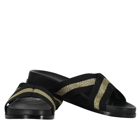 Saben Stella Slides - Gold & Black - Tea Pea Home