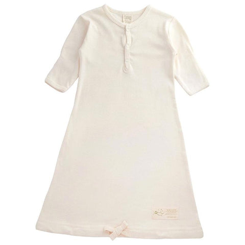 Nature Baby Organic Cotton Sleeping Gown - Natural - Tea Pea
