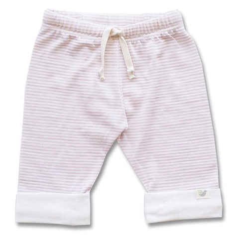 Roots & Wings NZ Organic Merino Drawstring Pants - Rose Stripe