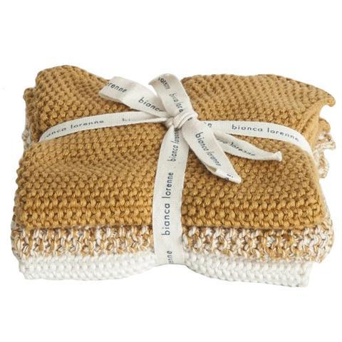 Bianca Lorenne Knitted Cotton Wash Cloth Set - Lavette Ochre - Tea Pea Home