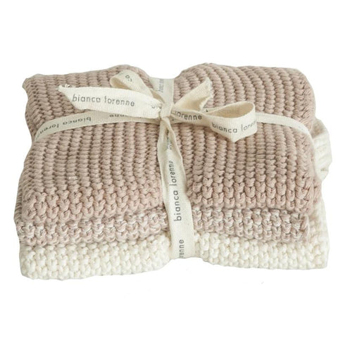 Bianca Lorenne Knitted Cotton Wash Cloth Set - Lavette Petal - Tea Pea Home