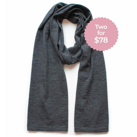 Classic Knit Wool Scarf - Charcoal - Tea Pea Home