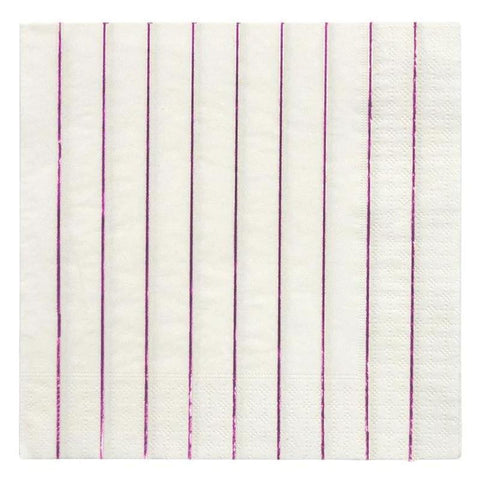 Meri Meri UK Napkins - Metallic Pink Stripe Large - Tea Pea Home