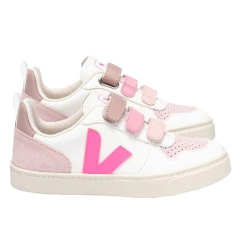 Veja Kids V10 Leather Velcro Sneakers - White Sari Multico - Tea Pea Home